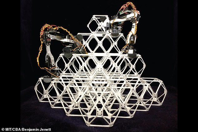 The V-shaped machines, called Bipedal Isotropic Lattice Locomoting Explorers (or BILL-E), have two miniature arms that piece structures together block by block