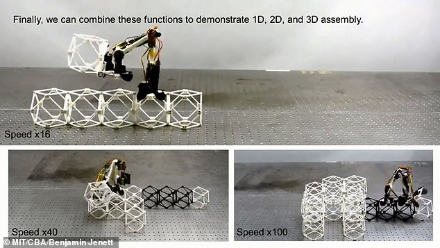 The inchworm-like robots can put smaller 3D pieces together, which the MIT team calls 'voxels', to build the structures. The robots are basically two connected small arms that are hinged in the middle with a clamping device at each end that they use to grip onto the voxel structures