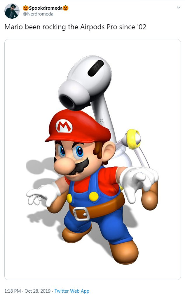Some have compared them to a hairdryer and another Twitter users said, 'Mario been rocking the Airpods Pro since '02' as he shared an image of Mario carrying an AirPods Pro on his back