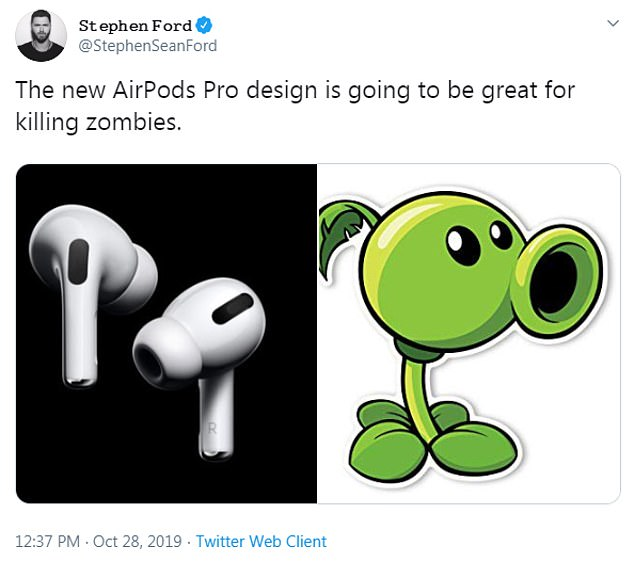 Another Twitter user said AirPods Pro resemble thePeashooter from Plants vs. Zombies