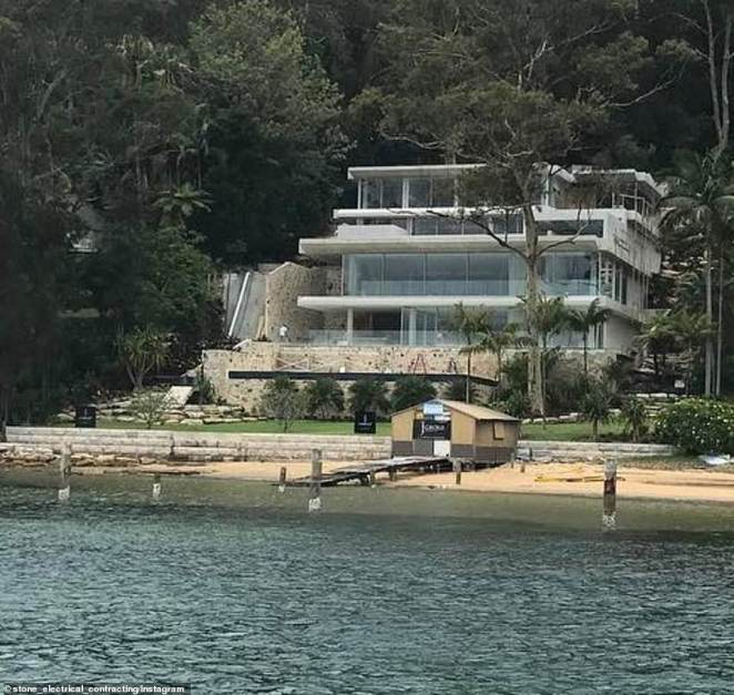 Privacy: The finished 3,252sqm home overlooks picturesque Pittwater. Pictured: The house during renovation in 2017