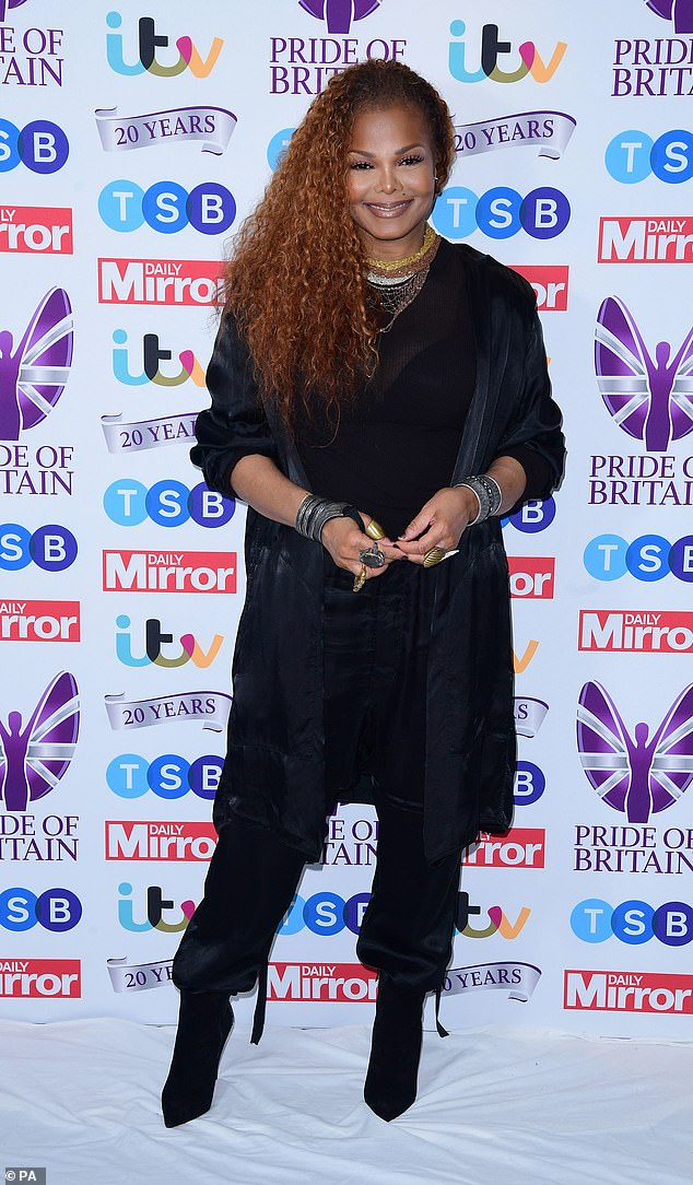 Surprise:Janet Jackson took a break from her hectic schedule as she made a surprise appearance at the 2019 Pride of Britain Awards at the Grosvenor House Hotel in London on Monday