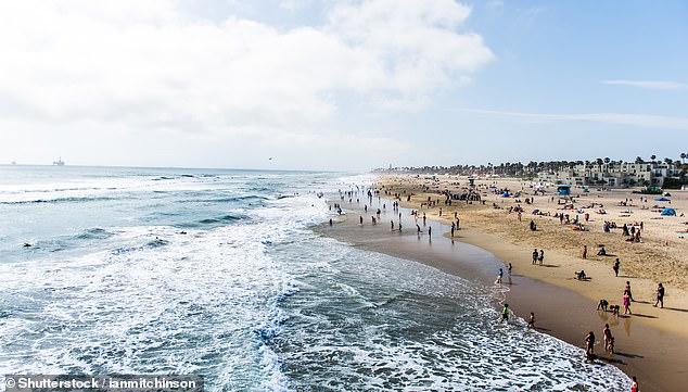 Stock image shows people enjoying the waters of Huntington Beach. This weekend a higher than usual number of people for the time of year were seen at the beach. This led to record numbers of swimmers being stung by a Stingray