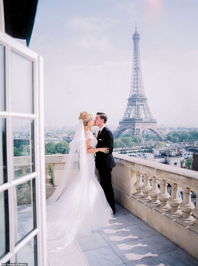 They tied the knot on the balcony of their suite at the Shangri-La Hotel in Paris (pictured) with the famous Eiffel Tower glinting in the background