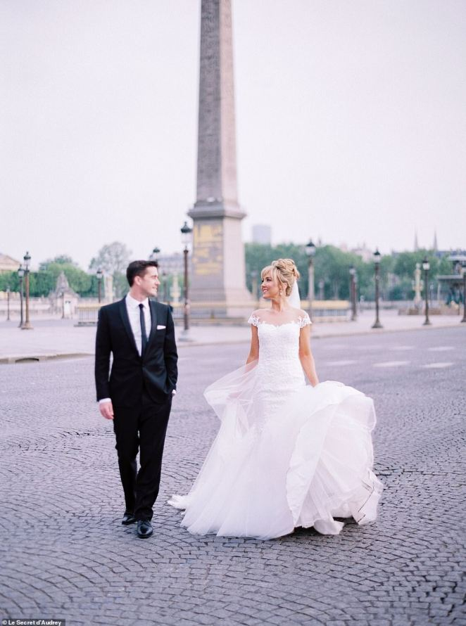 On their second date Tim told Lisa he was taking a year-long sabbatical from his job to travel overseas, which is where their love of Paris and French culture began (pictured at the Place De La Concorde)