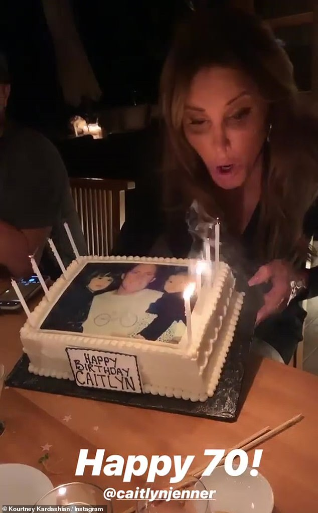 Remember when: In fact, the birthday cake Caitlyn enjoyed Tuesday was frosted with a throwback snap of her as Bruce holding Kylie and Kendall as little girls