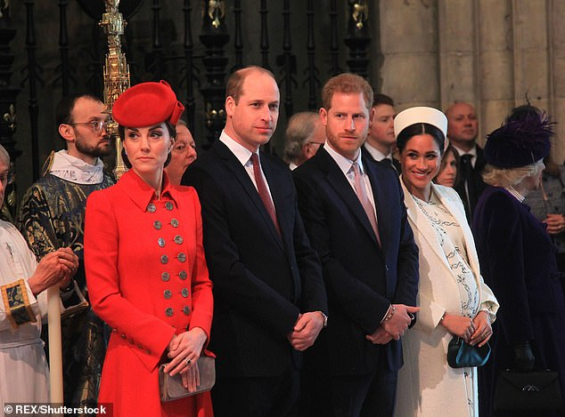 Kate, Prince William, Prince Harry and Meghan at the Commonwealth Day service at Westminster Abbey, London, on 11 Mar 2019