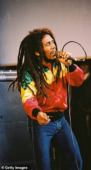Nine of the names on the list of 13 are musicians. Bob Marley is pictured