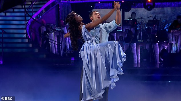Progressing: Despite the sickness struggles, Kelvin will still be taking to the floor with Oti to perform the Viennese Waltz to Say Something by A Great Big World and Christina Aguilera