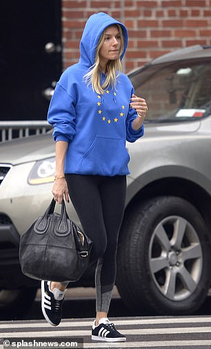 The 37-year-old actress appears not to have severed all ties with the Old World, judging by her choice of apparel — a 'EUnify' hoodie with one of the 12 EU gold stars missing