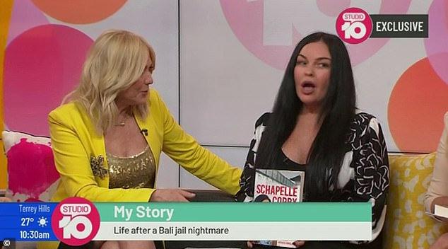 Hard-hitting question: Earlier this week, Schapelle was confronted by Studio 10 host Kerri-Anne Kennerley (left) about the profits from her autobiography