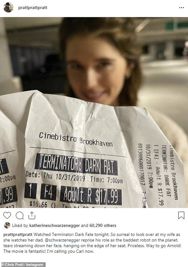 Trick or Terminator! Chris Pratt, 40, took to Instagram on Halloween evening as he and wife Katherine Schwarzenegger, 29, went to see her father Arnold Schwarzenegger's new movie, Terminator: Dark Fate