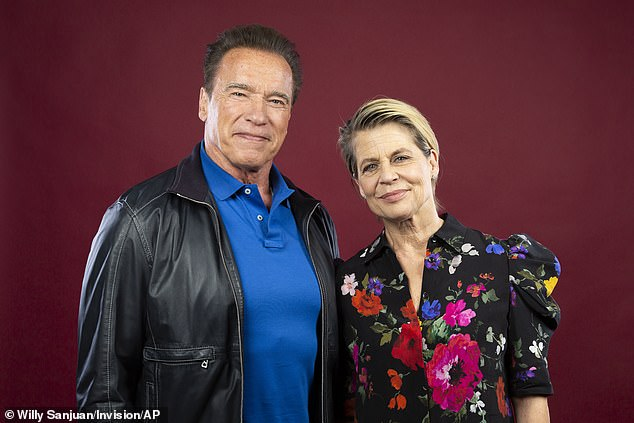 Reunited and it feels so good:Arnold and Linda Hamilton again share the screen in the sixth installment in the iconic action franchise