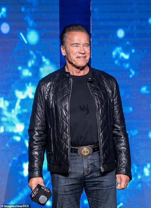 Promoting: Arnold Schwarzenegger appeared last week in Beijing, China to promote the movie