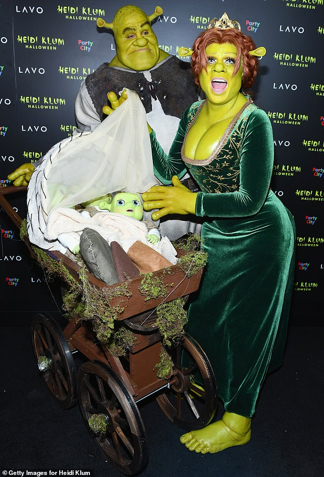 Last year: Tom and Heidi completely transformed into Shrek and Princess Fiona for last year's Halloween party