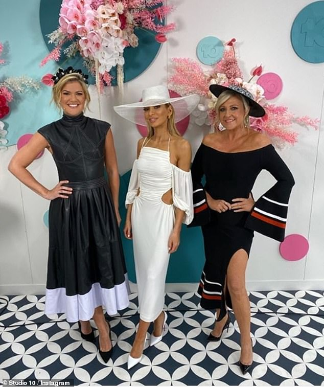 Appearances: This is Nadia's third on-screen role this year as she performed a risqué striptease on The All New Monty: Ladies' Night back and also hosted Seven's coverage of the Brownlow Medal (pictured centre on Derby Day with Sarah Harris and Angela Bishop)