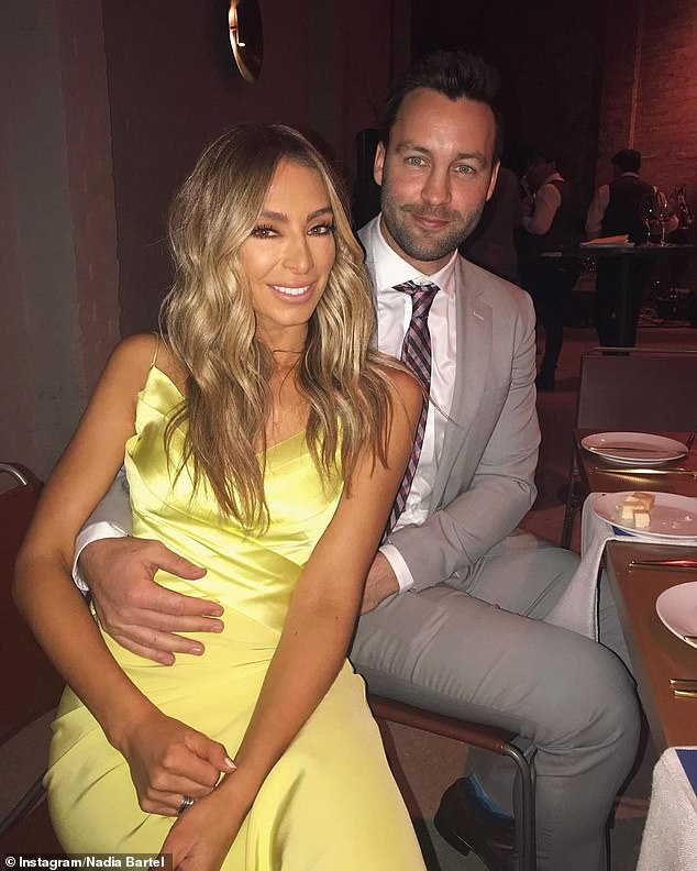 Over: Nadia's role at the Brownlow Medal was announced just weeks after it was revealed she had split from her husband, Jimmy (pictured), after five years of marriage