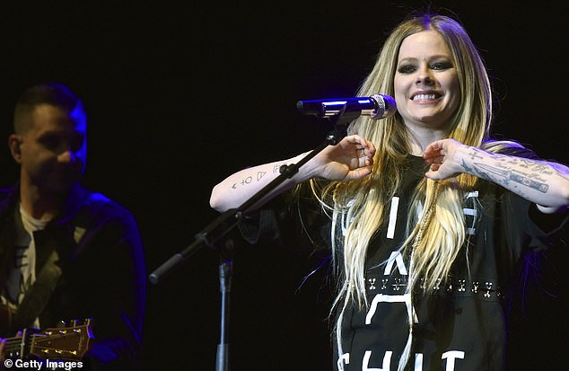 Avril Lavigne, 35, returned to stage as she performed during Live in the Vineyard at the Uptown Theatre, California on Friday night