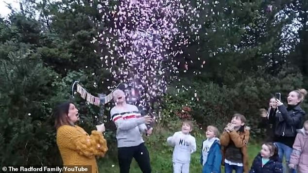 The couple, who used pink confetti for their gender reveal (pictured), said they got rid of all of all their newborn essentials after having their last baby