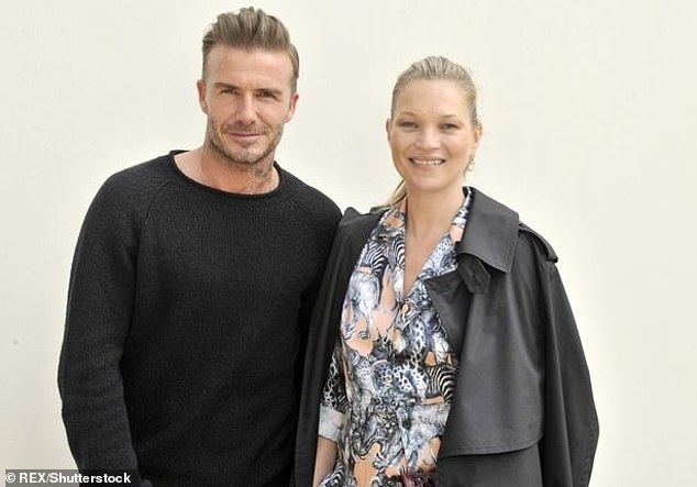 Concerned: Brooklyn's father David, pictured with Lottie's half-sister supermodel Kate Moss, is reportedly 'worried about his son's reputation' (David and Kate pictured together)