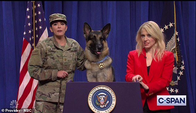 Silly: Kate McKinnon played Kellyanne Conway while Cecily Strong was a service member who could translate for the dog who aided in the killing of Abu Bakr al-Baghdadi thanks to her degree in linguistics from Dr. Dolittle University