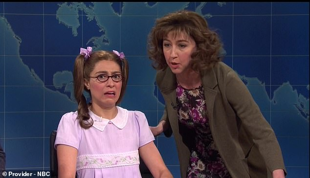 Derailed: Melissa Villaseñor made a guest appearance on Weekend Update as 'adorable kid genius Riley Jensen,' who had a meltdown as soon as she didn't know the answer to a question