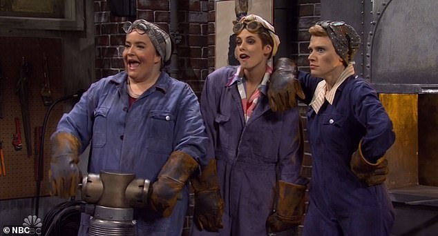 In the spotlight: She appeared for the first regular sketch along with Kate McKinnon and Aidy Bryant as a WWII-era factory workers in the running to be the war effort's public face