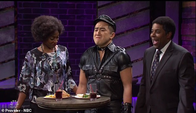 Surprising tastes: She didn't get much traction from them, but the sketch ended with a twist when new castmember Bowen Yang showed up wearing leather as their 'little pig boy'
