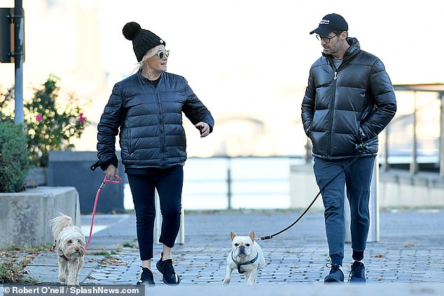 'I do Skype my dogs': Hugh previously revealed he often video calls the dogs while he's away for work, and once joked they're more famous than he is