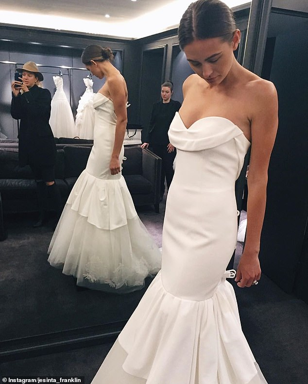 'I still adore this dress. More pics coming tonight on my App!' Jesinta also shared photos from her first bridal fitting of her second custom-made Vera Wang gown in 2015
