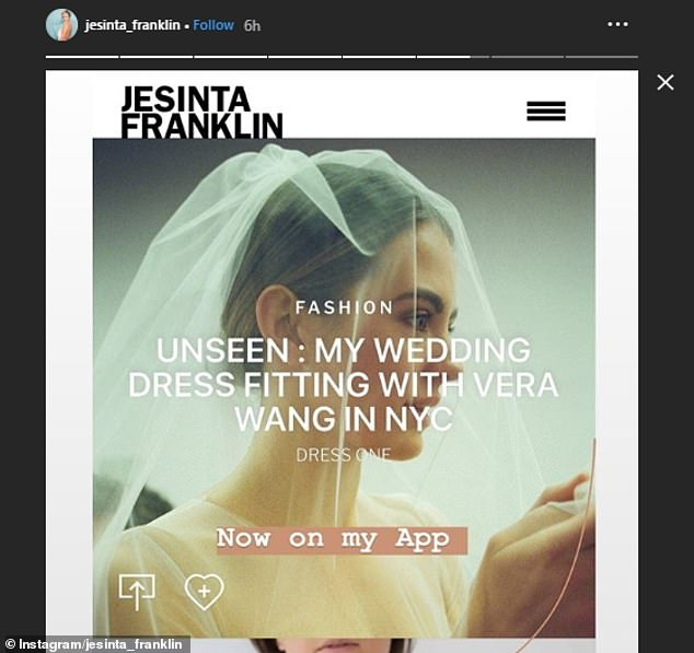 'Now on my App': Jesinta teased more photographs from her fitting, which to access by fans costs $6.99 per month