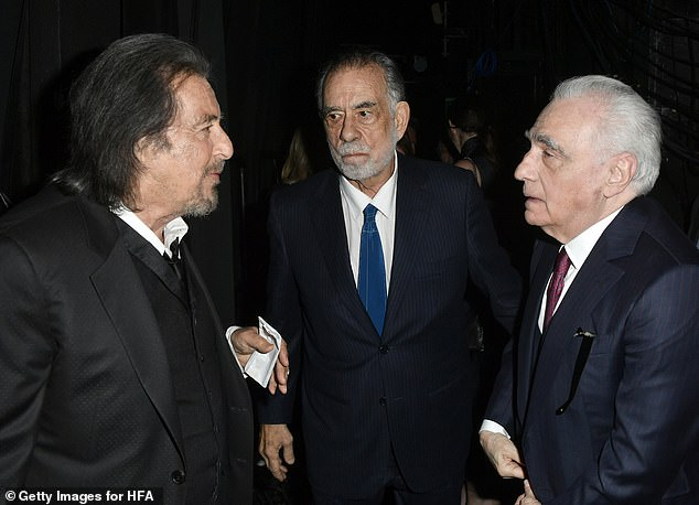 Kings of film: Two of Hollywood's most iconic filmmakers and one of its most celebrated actors converged Sunday, as Al Pacino, 79, Francis Ford Coppola, 80, and Martin Scorsese, 76, chat it up backstage at the 23rd Annual Hollywood Film Awards