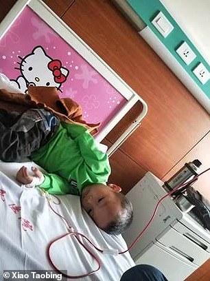 Mr Xiao said his son was extremely strong and never cried once during treatment