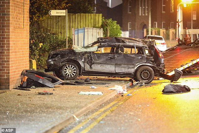 Two people in the car were taken to hospital with injuries believed to be life-threatening and one, thought to be a boy in his late teens, has died.
