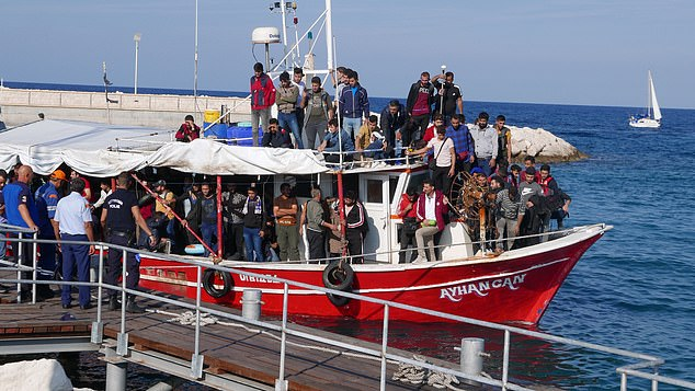 In Cyprus, more than a hundred migrants today arrived on a boat into Latchi Harbour, Chrysochous Bay, and were met by police and officials