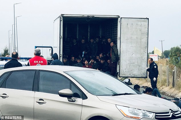 Police have discovered 41 migrants stowed in the back of a refrigerated truck alive on a motorway in Greece, officials today confirmed