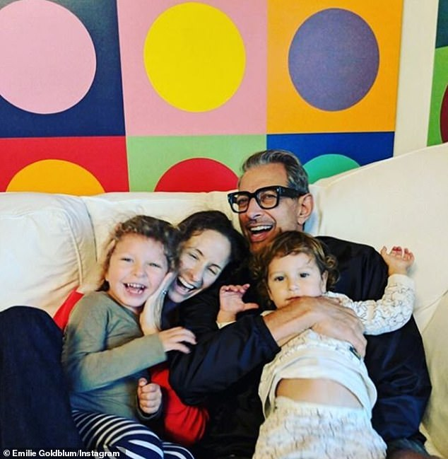 Happy family: Jeff sharesCharlie Ocean, four, and River Joe, two, with Emilie, but despite two marriages he admits he 'neverenvisioned [fatherhood] for myself' in the past