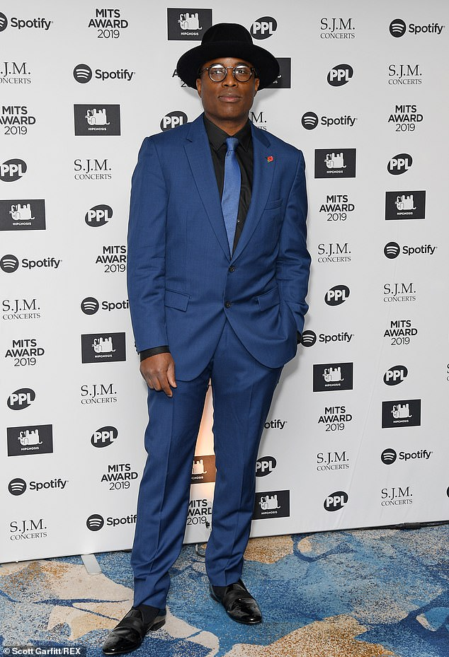 Striking: Composer Alexis Ffrench was also in attendance, where he donned a midnight blue two-piece