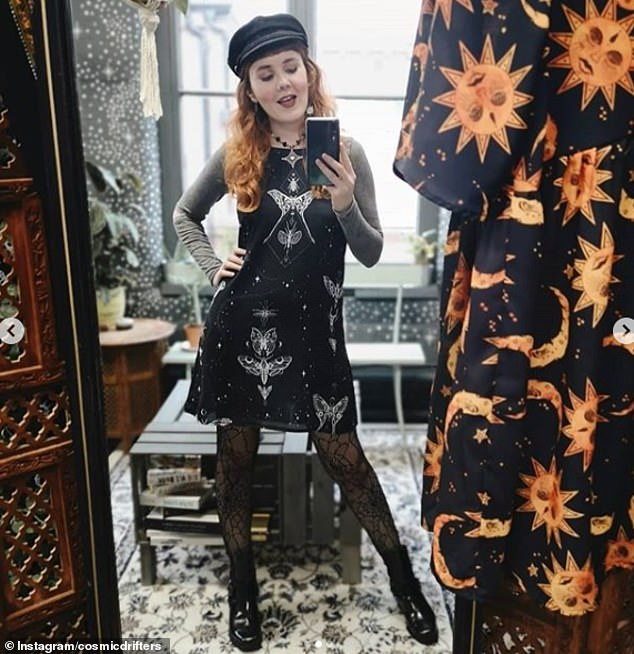 A witches' cap! Another woman, believed to be from the UK, shared this glamorous selfie online as she posed in her otherworldly outfit, delighting her 24,000 Instagram followers