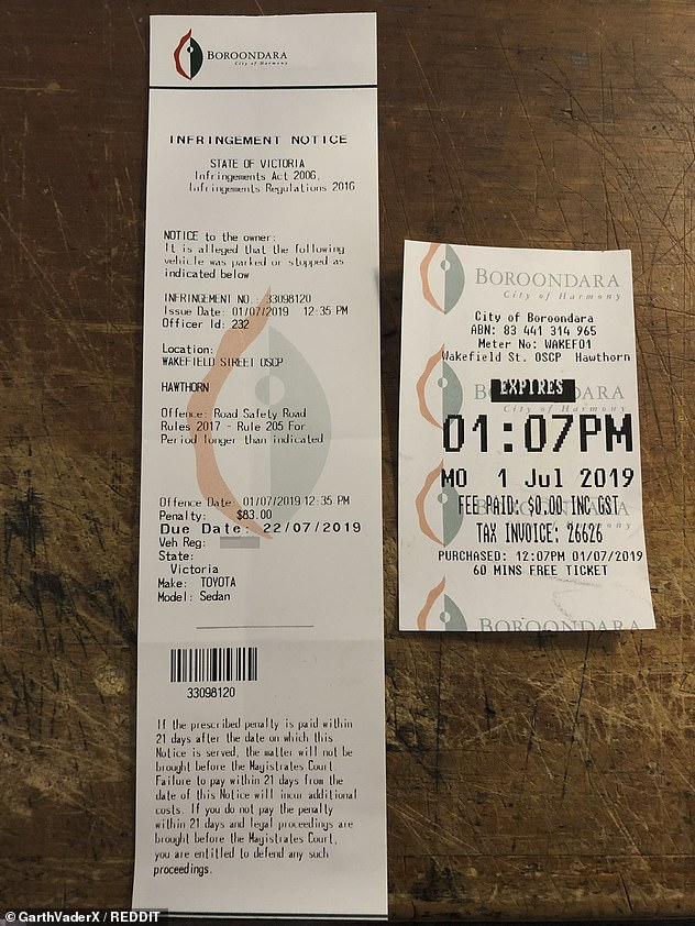 Earlier this year a driver was hit with a parking fine in Melbourne more than half an hour before his ticket expired