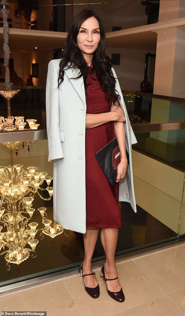 Style: Famke Janssen, 55, looked nothing short of sensational as she attended the press night after party for Death of a Salesman at The May Fair Hotel in London on Sunday