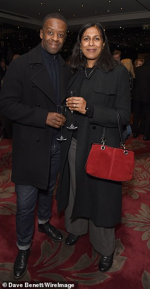 Attendees: Adrian Lester and his wife Lolita Chakrabarti looked every inch the happy couple at the event