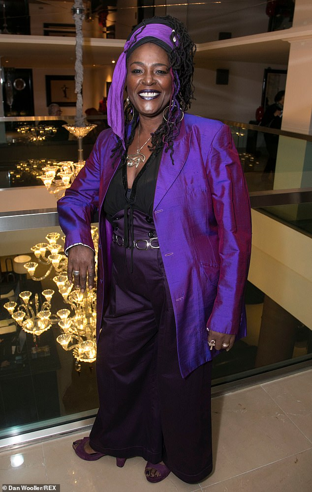 Glamour: Actress Sharon D Clarke who stars in the play looked stylish in an all-purple outfit
