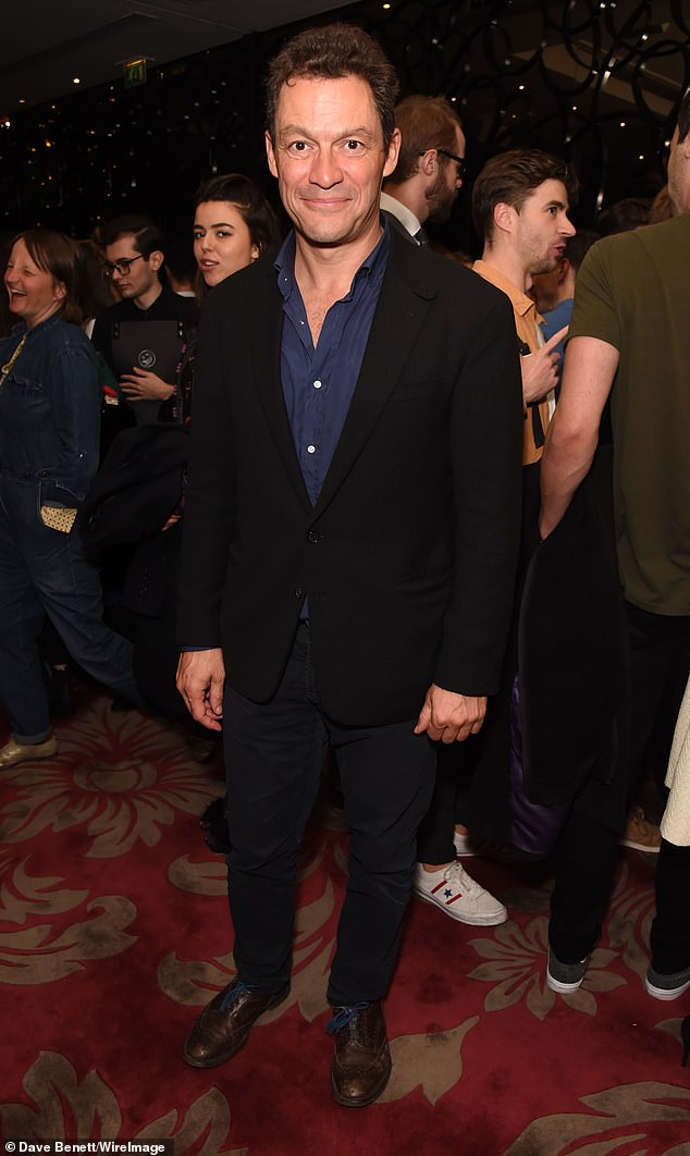 Suave: Also in attendance at the after party was fellow actor Dominic West who looked dapper in a black blazer with matching trousers and a navy shirt