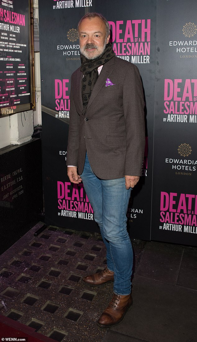 Dapper: Graham Norton was another famous face at the event where he wore a dark brown blazer with a light pink shirt and blue jeans