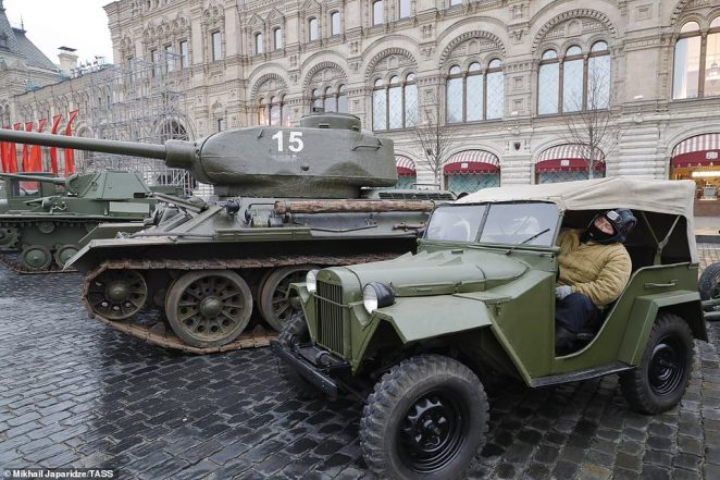 Military hardware ahead of a dress rehearsal of a march in Red Square marking the 78th anniversary of the 7 November 1941 October Revolution Parade