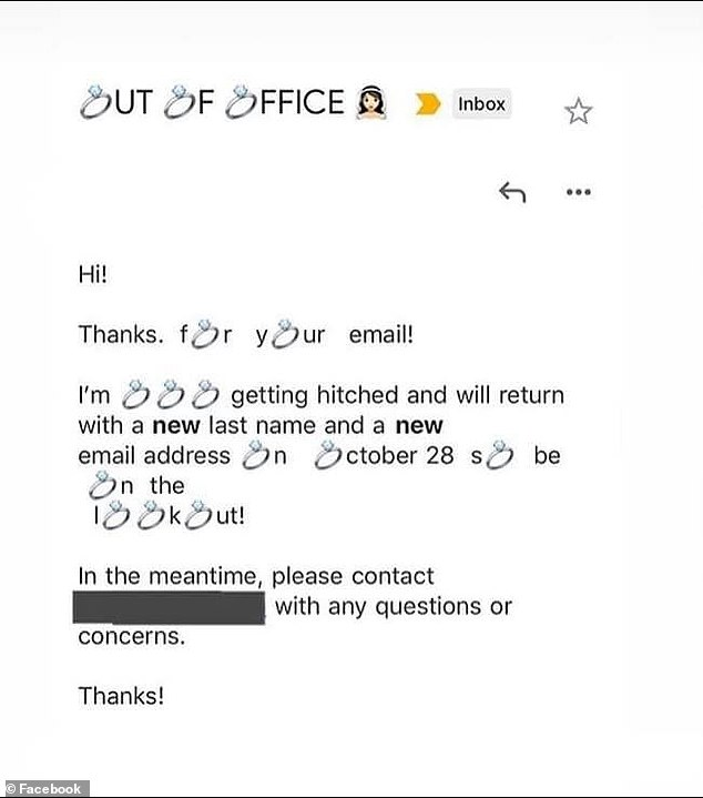 A bride-to-be has been branded 'obnoxious' online for her 'unprofessional' out of office email (pictured) which replaces all the letter Os with wedding ring emojis
