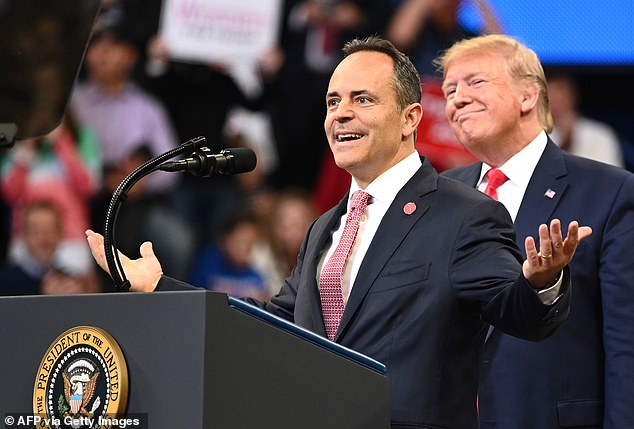 President Trump (right) held a rally in Lexington, Kentucky Monday night in order to boost Gov. Matt Bevin's (left) re-election prospects. Voters from the state head to the polls Tuesday, as Bevin's in a tight race with Democrat Andy Beshear