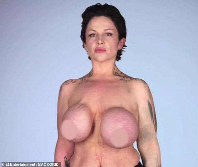 Going bust: The mother-of-two was also hoping the doctors would be able to give her even bigger breast implants
