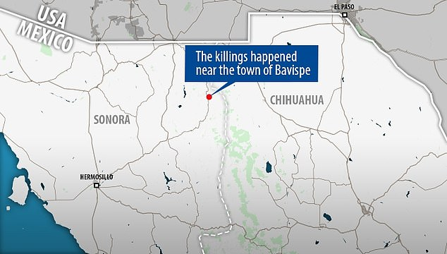 The shooting occurred near the town of Bavispe between Sonora and Chihuahua, pictured